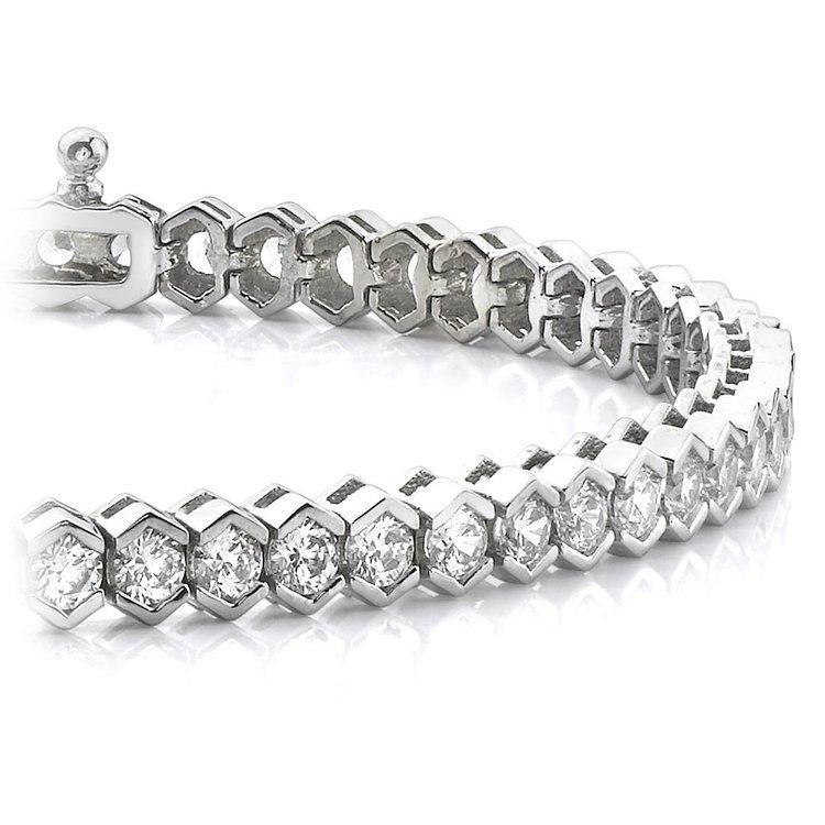 Modern Half Bezel Diamond Bracelet in White Gold (6 ctw)   01