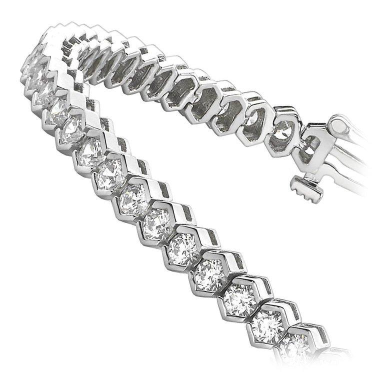 Modern Half Bezel Diamond Bracelet in White Gold (6 ctw)   02