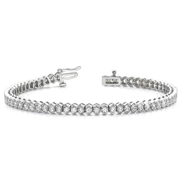 Modern Half Bezel Diamond Bracelet in White Gold (2 ctw) | 03
