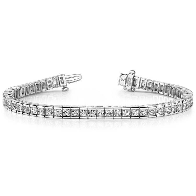 Princess Channel Diamond Tennis Bracelet in White Gold (6 1/2 ctw) | 03