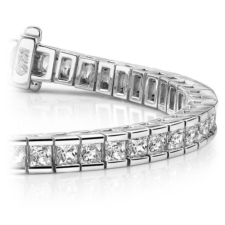Princess Channel Diamond Tennis Bracelet in White Gold (9 ctw) | 01