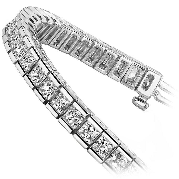 Princess Channel Diamond Tennis Bracelet in White Gold (9 ctw) | 02