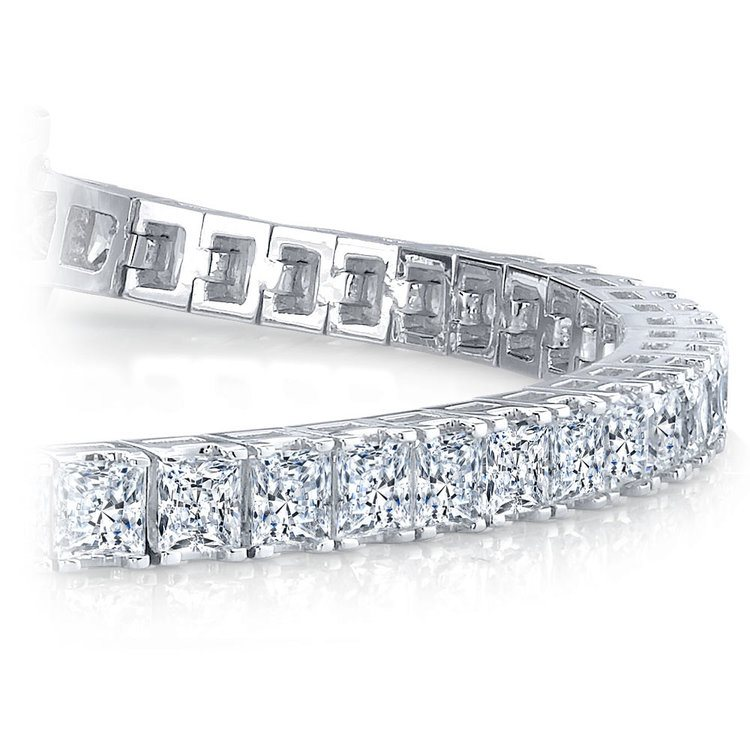 Princess Diamond Line Bracelet in White Gold (10 1/2 ctw)   01