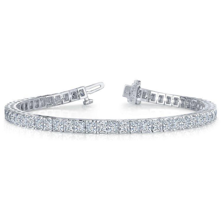 Princess Diamond Line Tennis Bracelet in White Gold (5 ctw) | 03