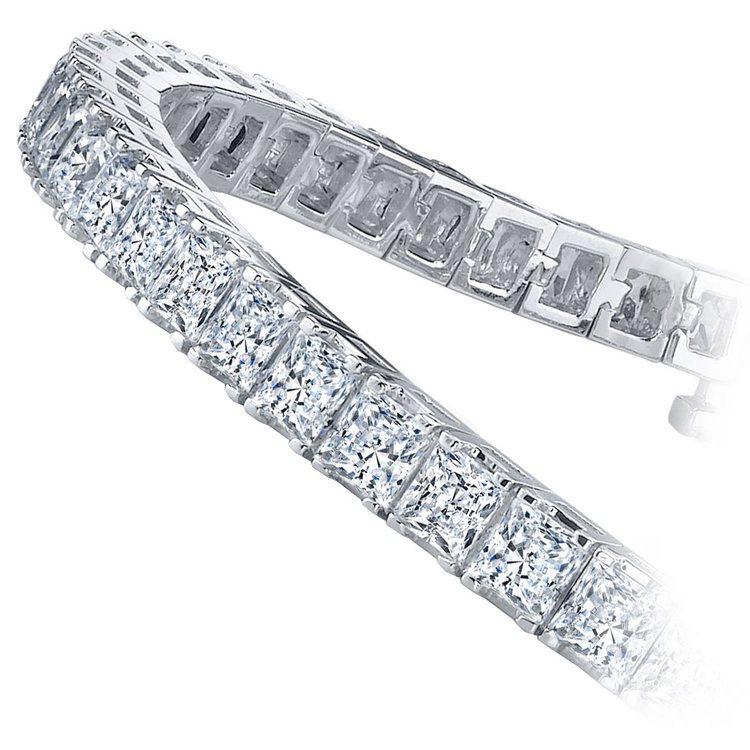 Princess Diamond Line Tennis Bracelet in White Gold (5 ctw) | 02