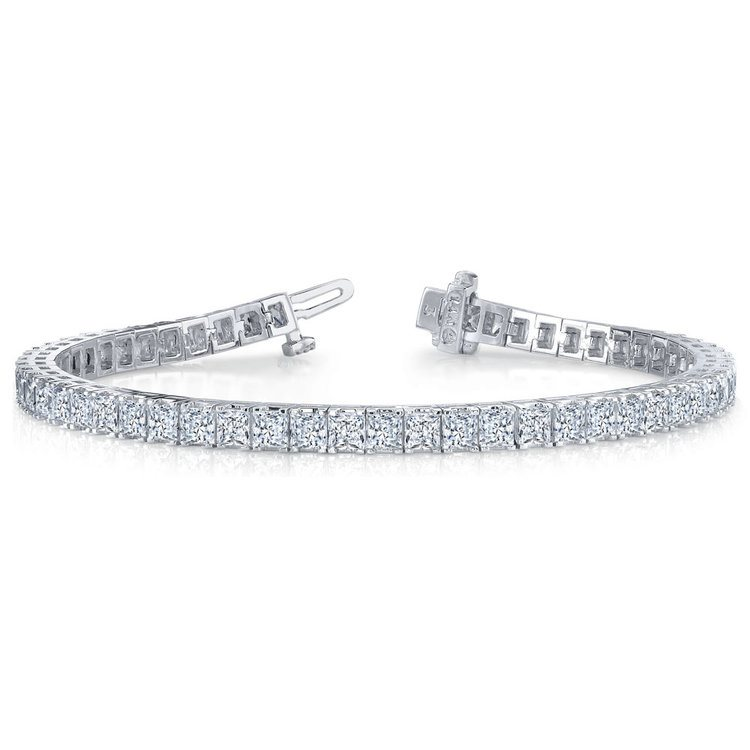 Princess Diamond Line Tennis Bracelet in White Gold (7 1/2 ctw) | 03