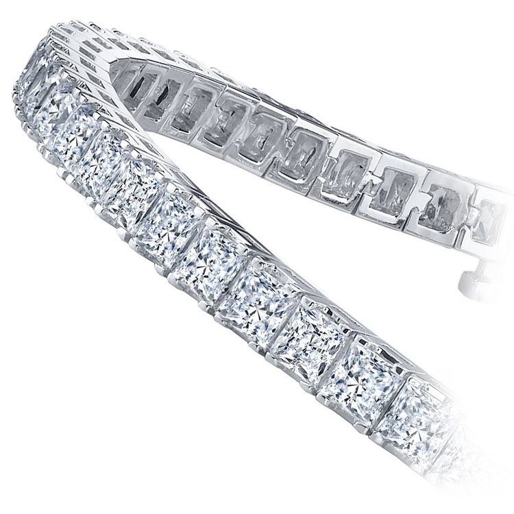 Princess Diamond Line Tennis Bracelet in White Gold (7 1/2 ctw) | 02