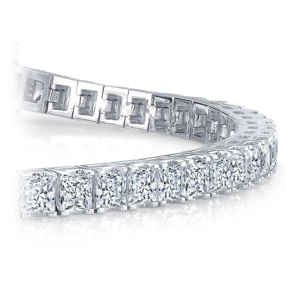 SOLID 925 Sterling Silver 4 mm Tennis Bracelet 1 Row Princess Baguette Diamond