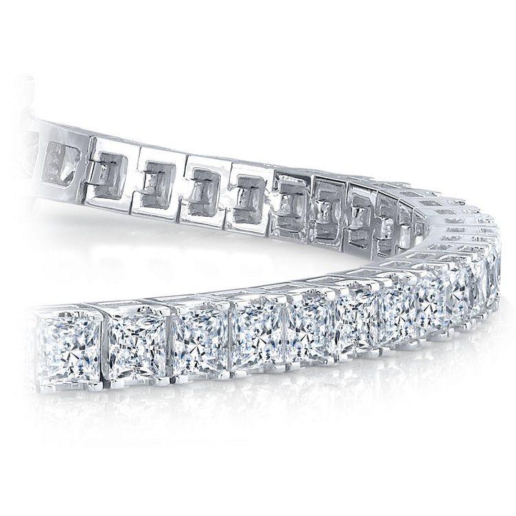 Princess Diamond Line Tennis Bracelet in White Gold (4 ctw) | 01