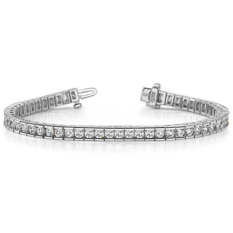 Round Channel Diamond Tennis Bracelet in White Gold (3 1/2 ctw) | 03
