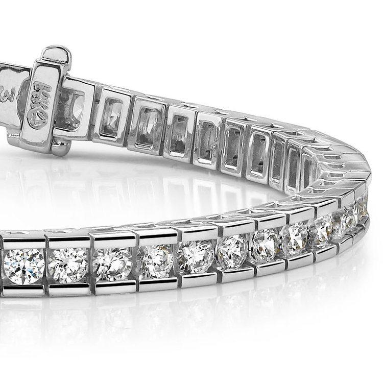 Round Channel Diamond Tennis Bracelet in White Gold (3 1/2 ctw) | 01
