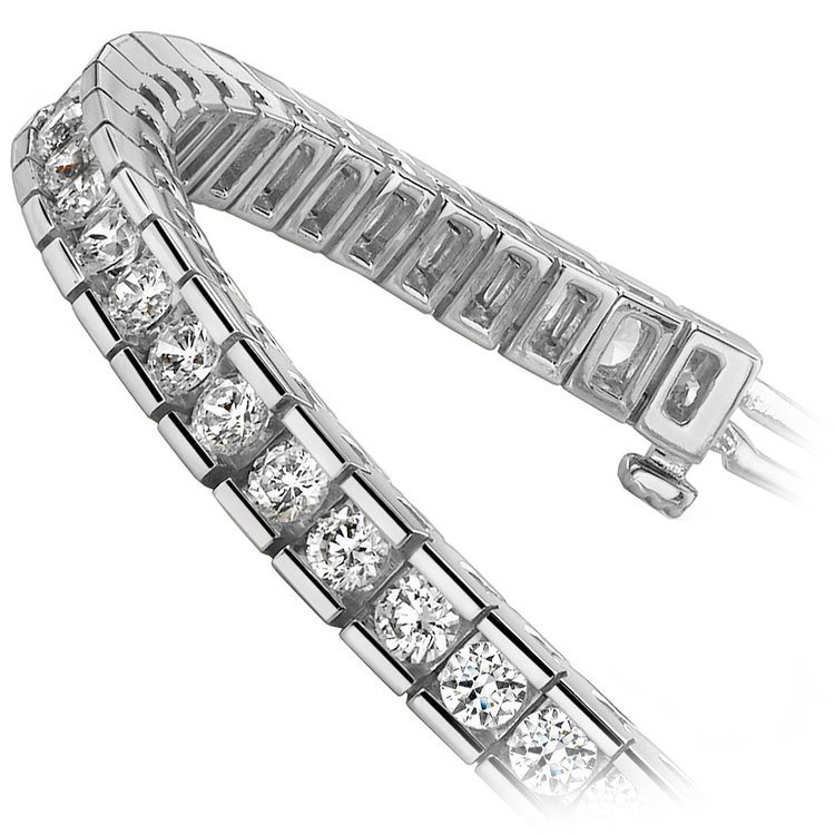 Round Channel Diamond Tennis Bracelet in White Gold (3 1/2 ctw) | 02