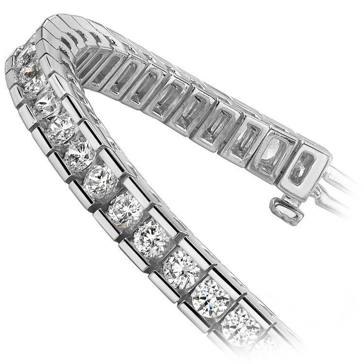 Round Channel Diamond Tennis Bracelet in White Gold (9 ctw) | 02