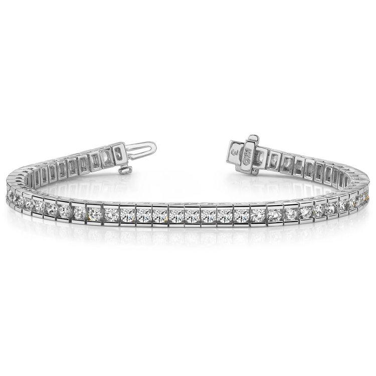 Round Channel Diamond Tennis Bracelet in White Gold (2 1/2 ctw) | 03