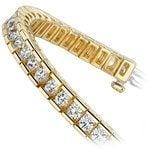 Round Channel Diamond Tennis Bracelet in Yellow Gold (3 1/2 ctw) | Thumbnail 02