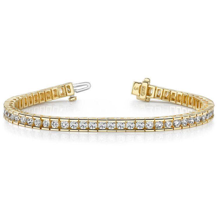 Round Channel Diamond Tennis Bracelet in Yellow Gold (3 1/2 ctw) | 03
