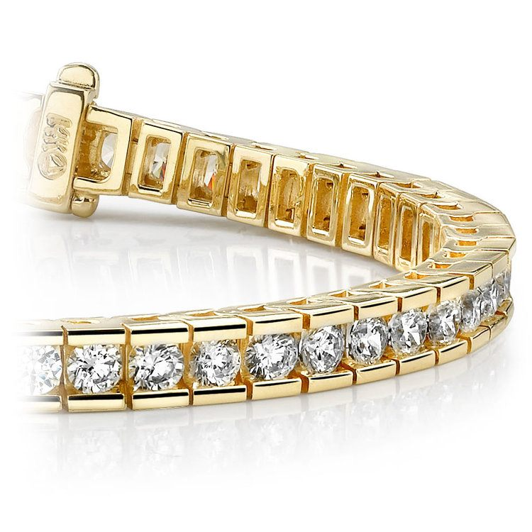 Round Channel Diamond Tennis Bracelet in Yellow Gold (3 1/2 ctw) | 01