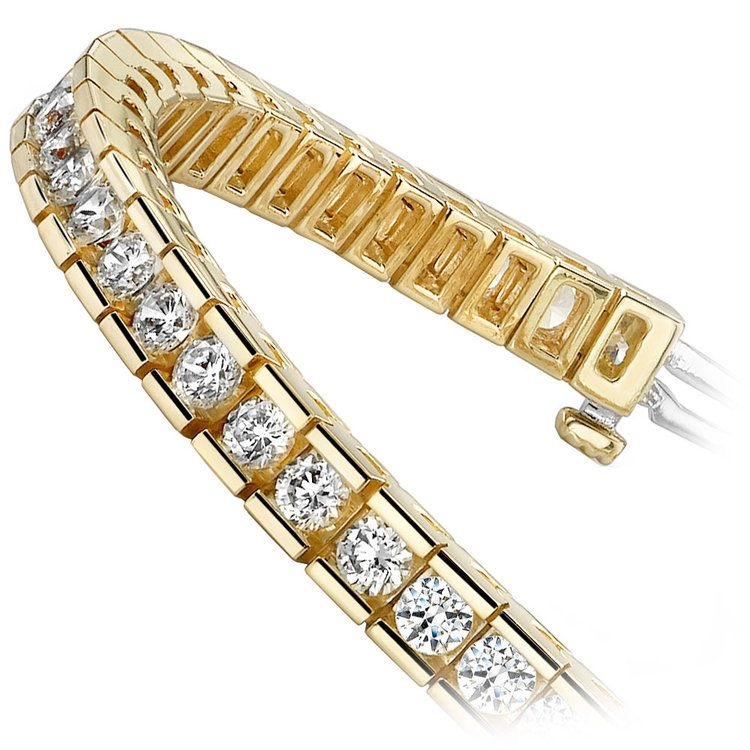 Round Channel Diamond Tennis Bracelet in Yellow Gold (9 ctw) | 02