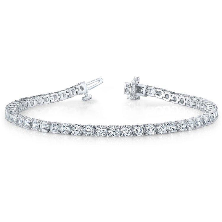 Round Diamond Line Tennis Bracelet in White Gold (11 ctw)   03