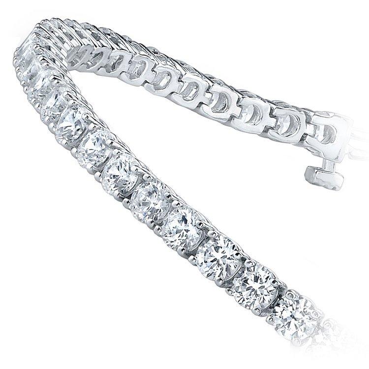 Round Diamond Line Tennis Bracelet in White Gold (11 ctw)   02