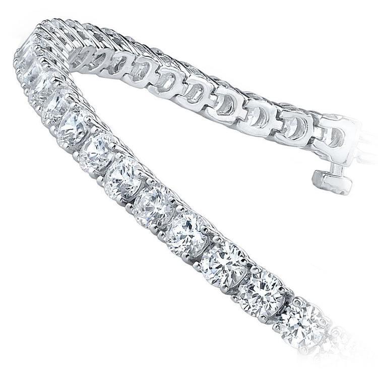 Round Diamond Line Bracelet In White Gold (2.25 ctw) | 02