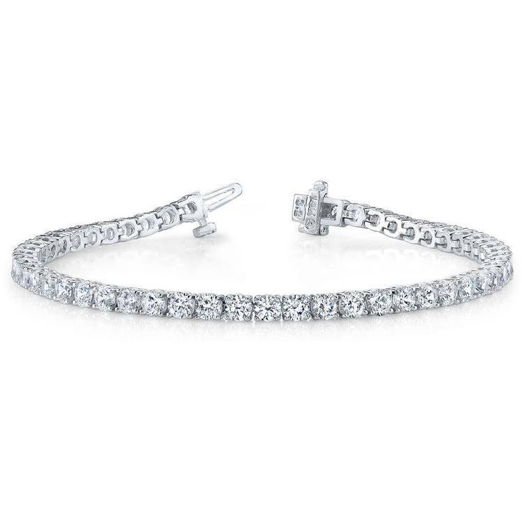 Round Diamond Line Bracelet In White Gold (2.25 ctw) | 03