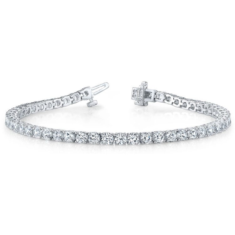 Round Diamond Line Tennis Bracelet in White Gold (4 ctw) | 03