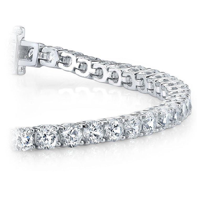 Round Diamond Line Tennis Bracelet in White Gold (4 ctw) | 01
