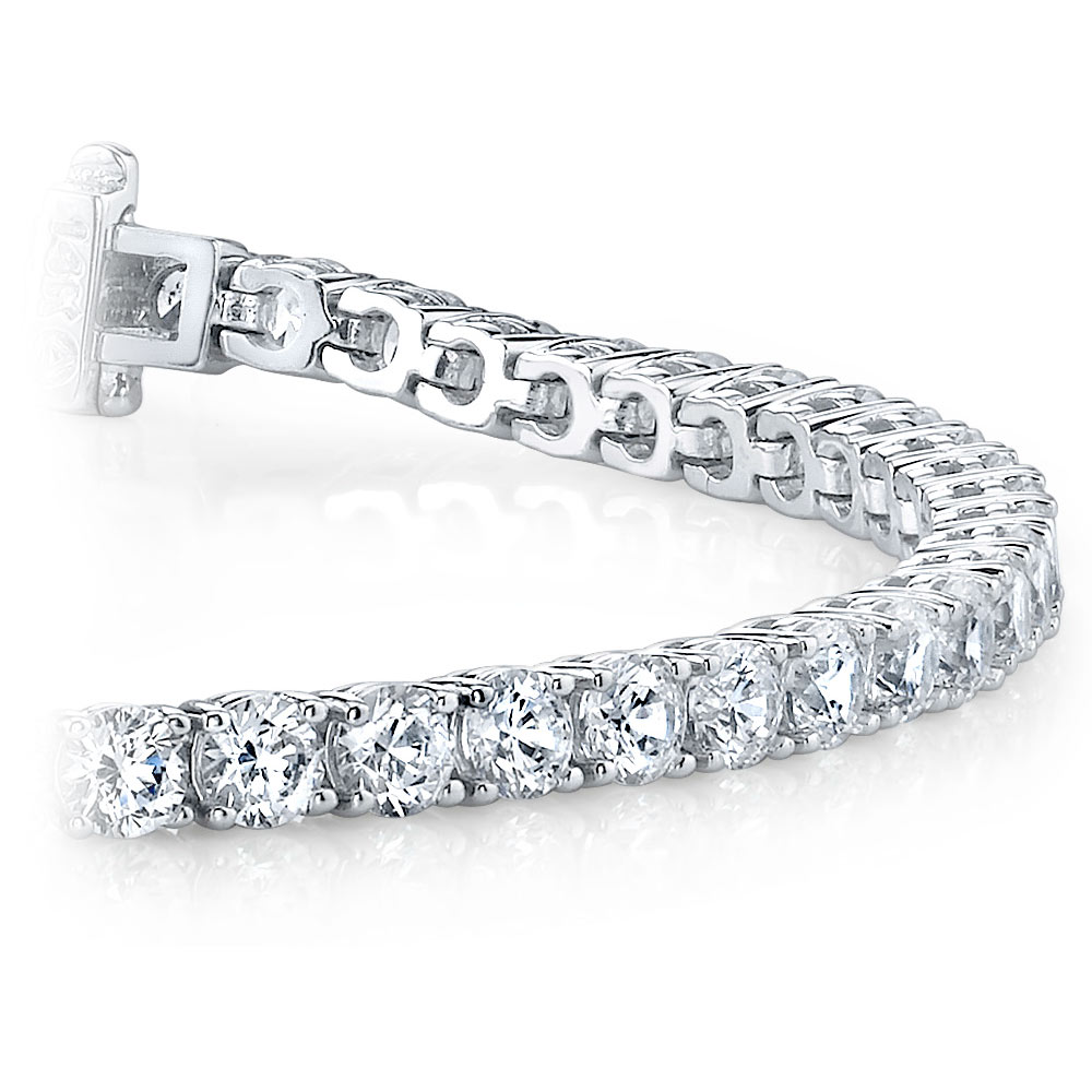 Round Diamond Line Tennis Bracelet In White Gold 4 Ctw
