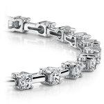 Round Column Link Diamond Bracelet in White Gold (1 ctw) | Thumbnail 01