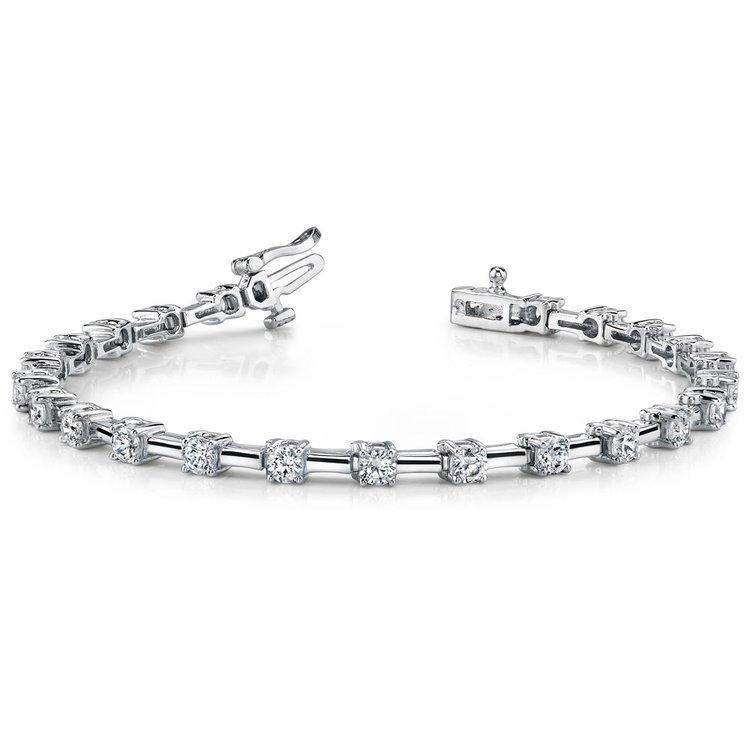 Round Column Link Diamond Bracelet in White Gold (1 ctw) | 03