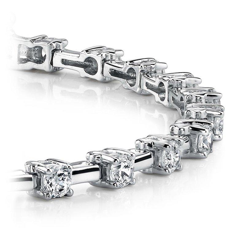 Round Column Link Diamond Bracelet in White Gold (1 ctw) | 01