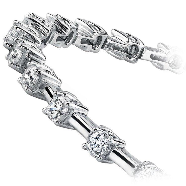 Round Column Link Diamond Bracelet in White Gold (1 ctw) | 02