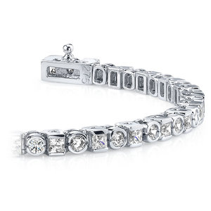 Round & Princess Diamond Tennis Bracelet in White Gold (4 ctw)