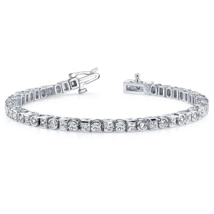 Round & Princess Diamond Tennis Bracelet in White Gold (4 ctw) | 03