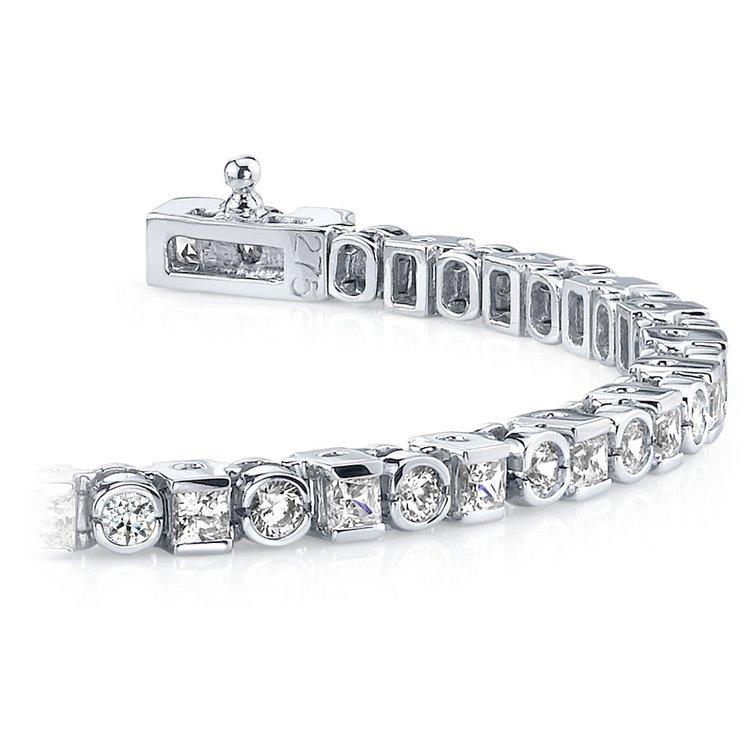 Round Amp Princess Diamond Tennis Bracelet In White Gold 4 Ctw