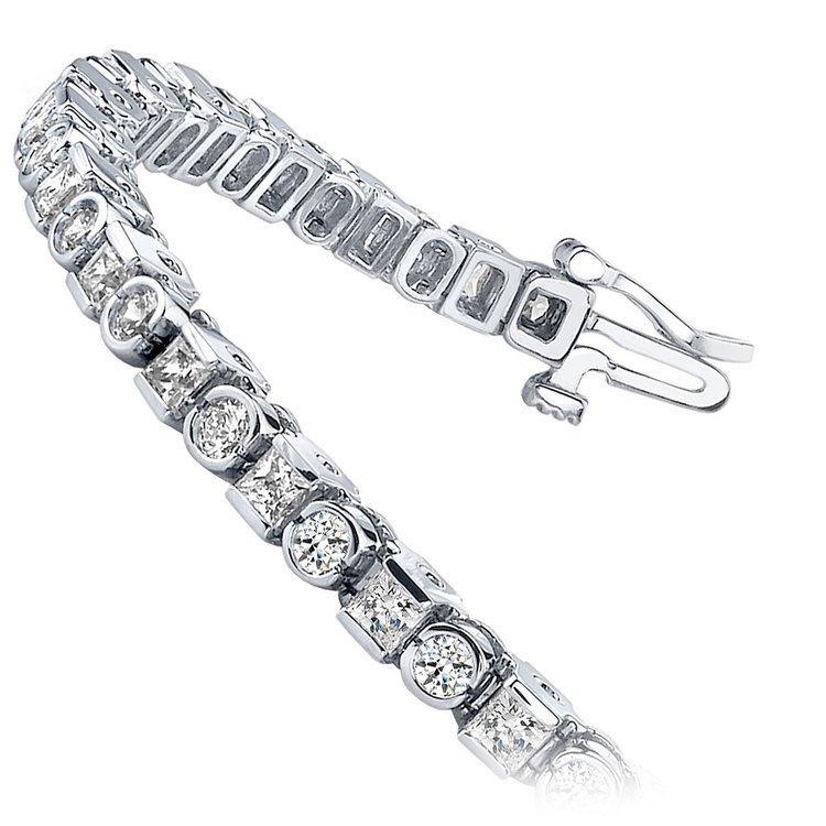 Round & Princess Diamond Tennis Bracelet in White Gold (4 ctw) | 02