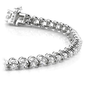 Round U-Prong Diamond Bracelet in White Gold (1 ctw)