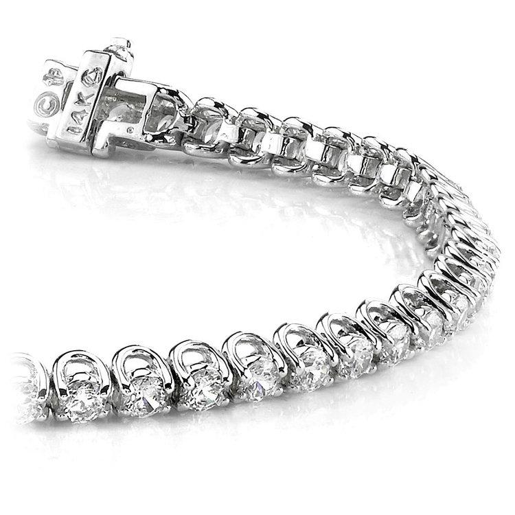 Round U-Prong Diamond Bracelet in White Gold (1 ctw) | 01