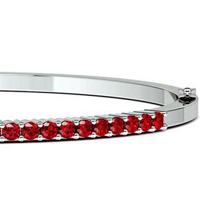 Ruby Bangle Bracelet in White Gold