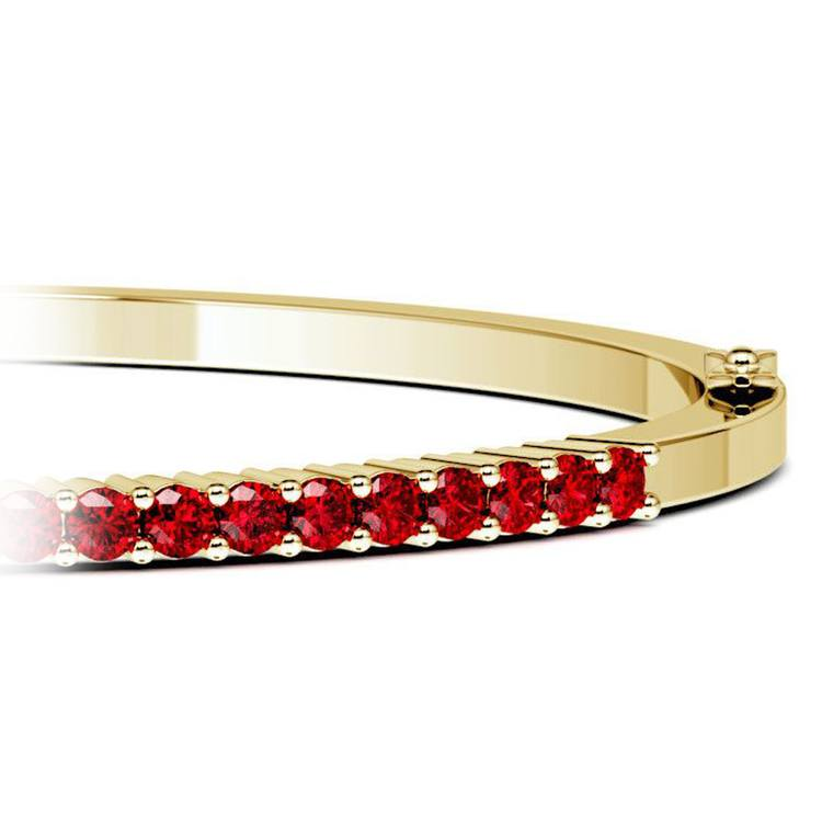 Ruby Bangle Bracelet in Yellow Gold | 01