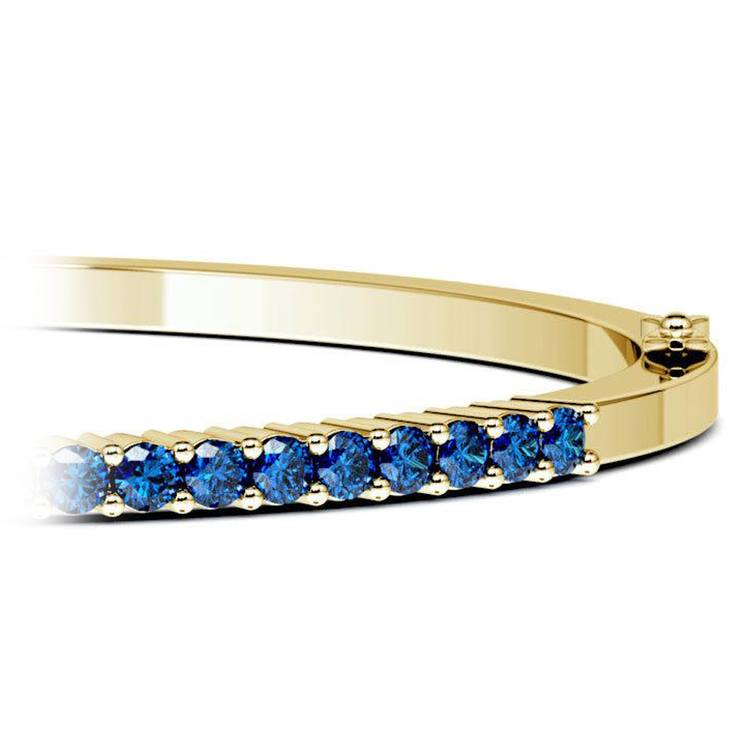Sapphire Bangle Bracelet in Yellow Gold  | 01
