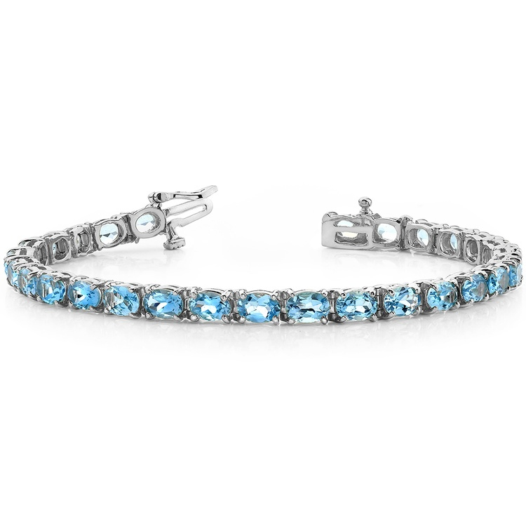 Sky Blue Topaz Gemstone Bracelet in White Gold (16 ctw) | 03