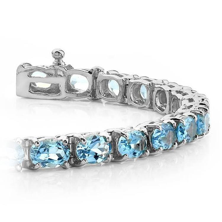 Sky Blue Topaz Gemstone Bracelet in White Gold (16 ctw) | 01