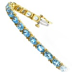 Sky Blue Topaz Gemstone Bracelet in Yellow Gold (16 ctw) | Thumbnail 01