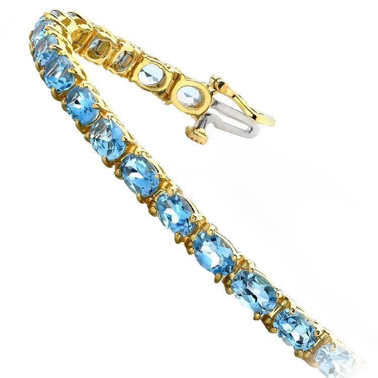 Sky Blue Topaz Gemstone Bracelet in Yellow Gold (16 ctw) | 02