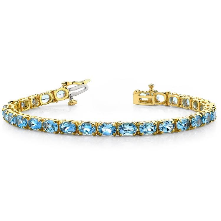 Sky Blue Topaz Gemstone Bracelet in Yellow Gold (16 ctw) | 03
