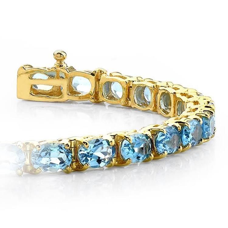 Sky Blue Topaz Gemstone Bracelet in Yellow Gold (16 ctw) | 01
