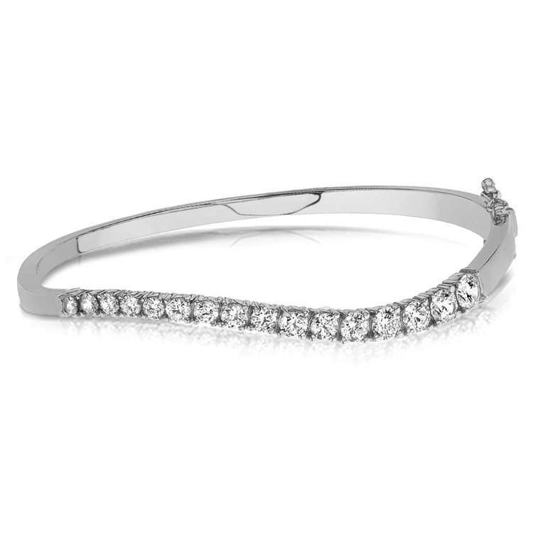 Curved Diamond Bangle Bracelet in White Gold (2 ctw) | 03