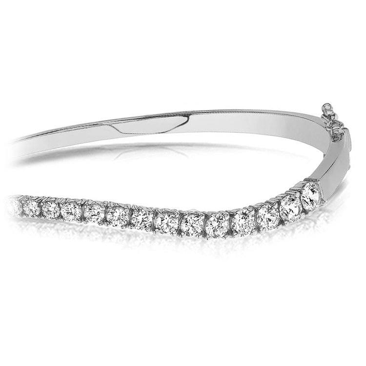 Curved Diamond Bangle Bracelet in White Gold (2 ctw) | 01